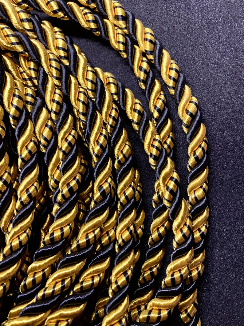 9mm Satin Twist Cord GoldBlack Decoration Braided Shiny Cord Choker Thread Twine String Rope Supplies Price per 5 Yards