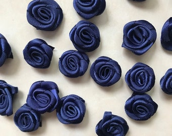 18mm Small Navy blue Rose Flower Small Satin Ribbon Rose Flower Navy Blue Rose Flower Handmade Rose/50 pieces