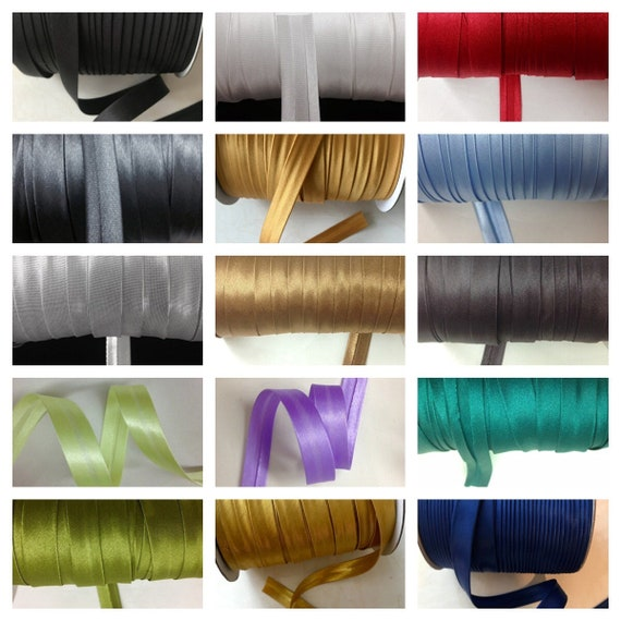 Metallic Silver 12 Yards 5//8 inch Single Fold Satin Bias Tape 23 Different Colors