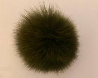 Natural Genuine Real Fox Fur Pom Pom Ball 3.5'-4'' inch 'Width