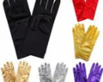 Stretch Satin Gloves Wrist Length For Ladies (2BL)