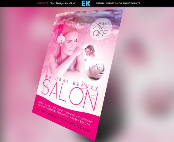 beauty salon and spa flyer template etsy