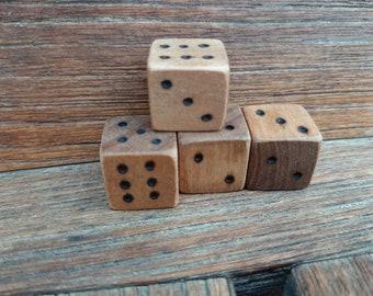 Set of 4 Wooden Dice