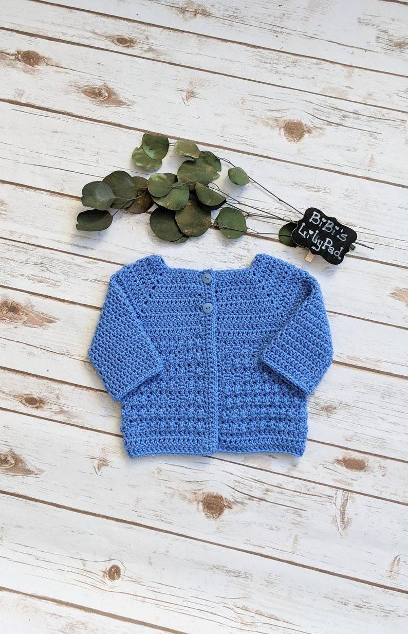 Handmade Unisex Baby Sweater Size 3-6 mos Baby Shower. Baby Gift Crochet Blue Baby Sweater