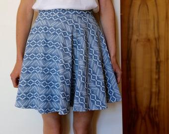 aztec lightweight denim circle skirt