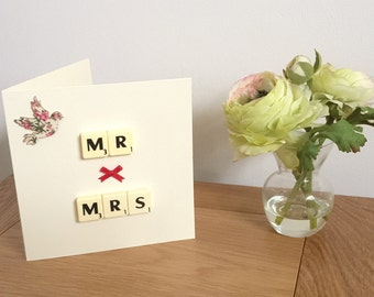 Handmade Wedding card - Mr & Mrs, Scrabble tile card, Wedding card