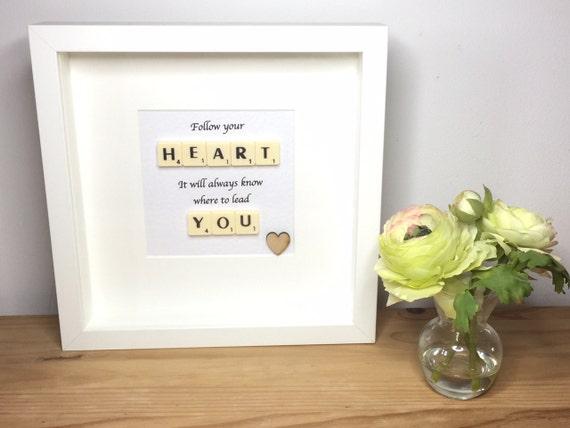 Scrabble wall art Scrabble picture Follow your heart | Etsy