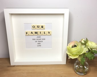 Scrabble wall art, Scrabble picture, Our Family, Gift for the family