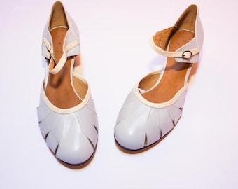 Lavender leather lindy hop shoes number 37
