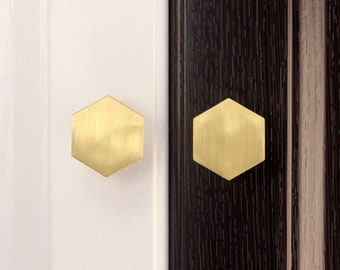 Gold Brass Hexagon Bronze Cabinet Drawer Handles Pulls Knobs Hardware - SHIPS FROM USA