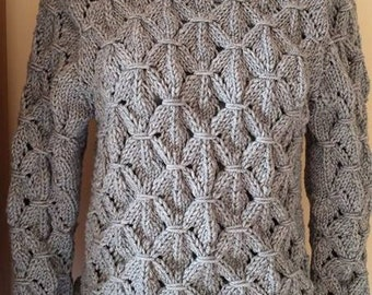 Women winter sweater knitted two hooks.hand-knitted blouse.