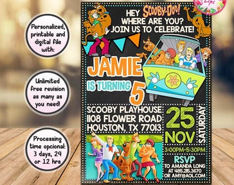 Scooby doo invitations etsy scooby doo invitation scooby doo birthday party invite personalized digital and printable file you print filmwisefo