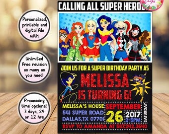 Dc Superhero Girls Invitation Etsy