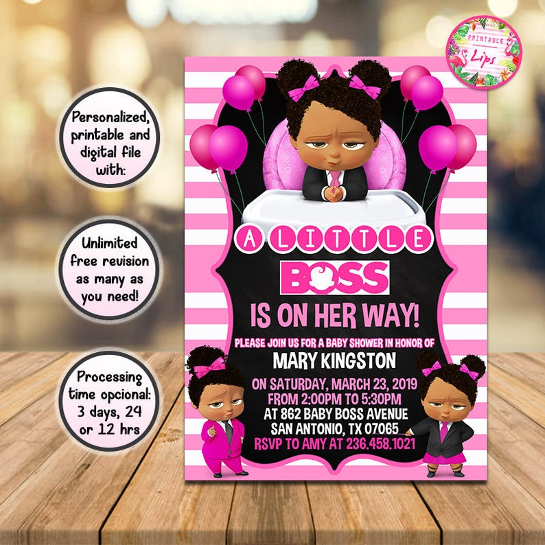Boss Baby Baby Shower Invitation Baby Shower Party Invite Afro African American Personalized Digital And Printable File You Print