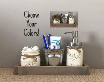 Mason Jar Bathroom Set, Bathroom Decor, Mason Jar Soap Dispenser,  Toothbrush Holder, Mason Jar Decor, Farmhouse Decor, Bathroom Accessories