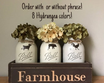 Farmhouse Centerpiece Dining Table, Cow Pig Rooster Decor, Mason Jar  Centerpieces, Kitchen Table