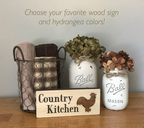 Mason Jar Kitchen Set: Mason Jar Kitchen Set Rooster Kitchen Decor Wood Signs