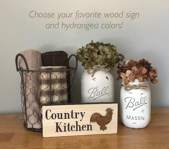 Mason Jar Kitchen Decor Set: Mason Jar Kitchen Set Rooster Kitchen Decor Wood Signs