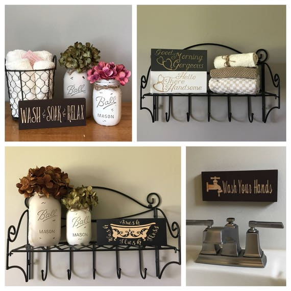 Home Accessories Decor Country Home Decor Discount: Rustic Country Home Decor Bathroom Sign Small Signs Mini