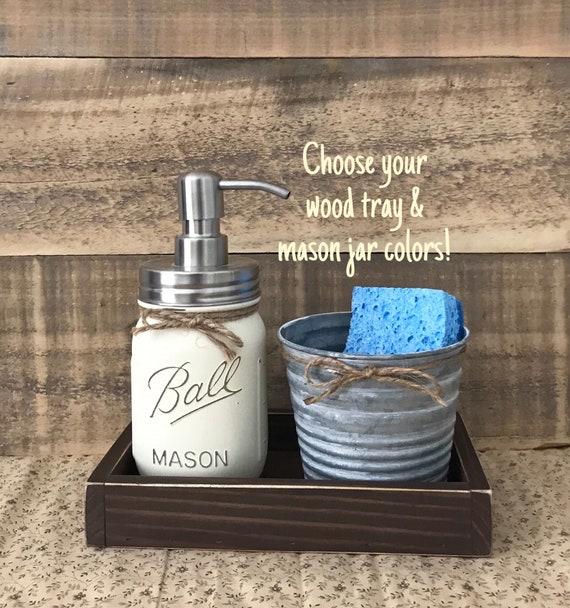 Mason Jar Soap Dispenser, Sponge Holder, Rustic Kitchen Decor, Kitchen Soap  Dispenser, Modern Farmhouse Decor Kitchen, Galvanized Decor