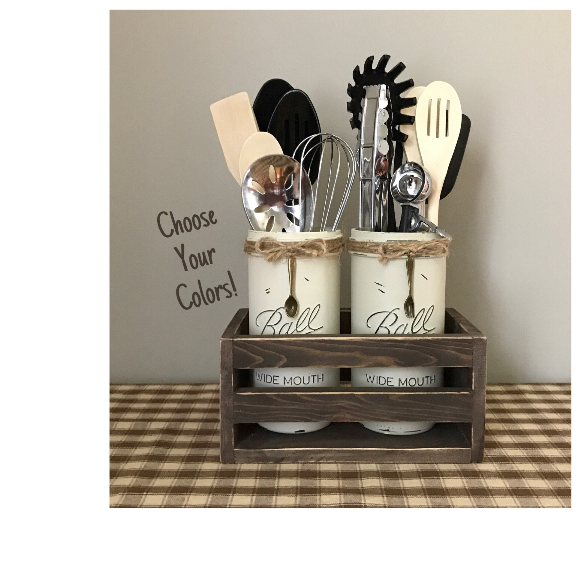 Utensil Holder Kitchen Decor Kitchen Utensil Holder Mason