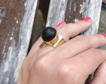 Black stone statement Ring