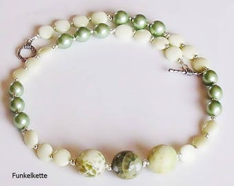 Beaded Necklace green mint beads Pearls gem Marble pearls Shiny Silver
