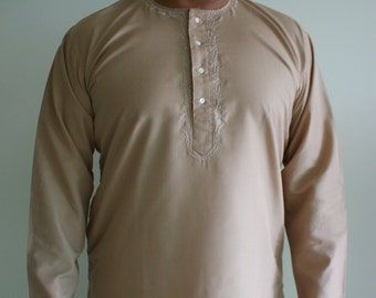 Simple Mens Kurtas with Light Embroidery and Matching Pants Available in Different Colors Only Four Left!