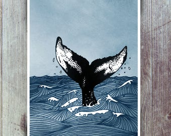 Whale Tail art print - Humpback Whale fluke in stormy sea - Nautical themed Humpback Whale giclee poster art from original illustration