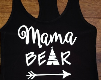 Mama Bear racer back tank top black with white