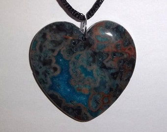 """Heart From The Deep Blue Abyss, Blue Crazy Lace Agate Heart Pendant 18"""" Necklace"""