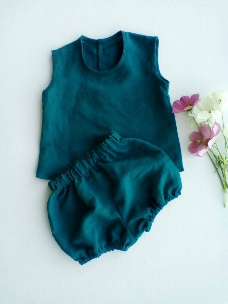 Teal Linen buttons at back with bloomers  matching set  separates  girls clothing  baby clothing  toddler clothes  unisex  baby boy