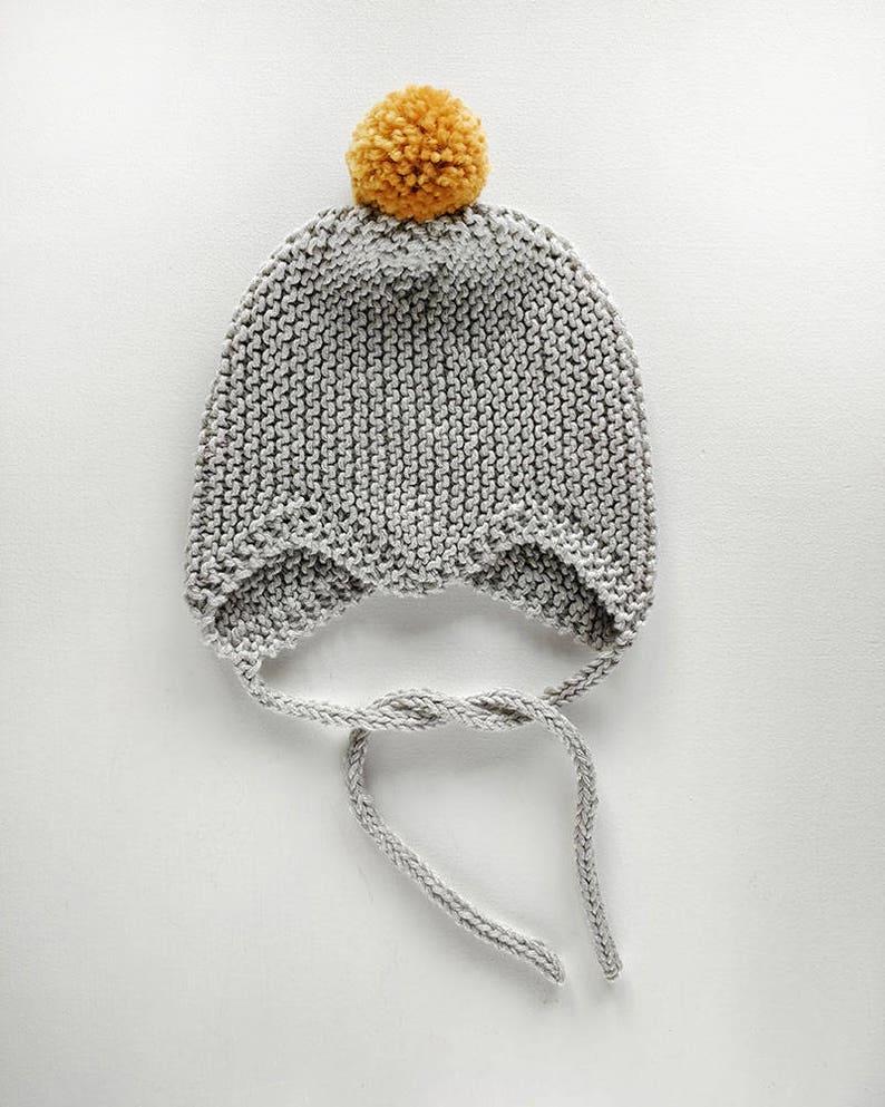61c4a05f723 ROUHEA Newborn bonnet    Light gray baby bonnet handmade