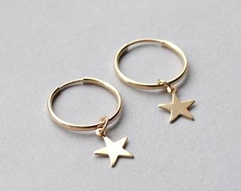 43404175e ROSA 14k Gold Filled, Sterling Silver Star Hoop Earrings, Dainty Gold Star  Earring, Tiny Star Hoops, Gold Hoop Earrings, Gift for Her,Mother