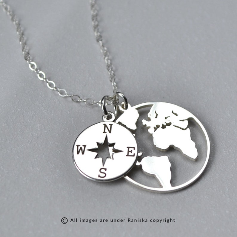 CLEO Sterling Silver World Map & Compass Necklace Earth image 5