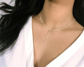 KYLIE Sterling Silver / 14k Gold Filled - Delicate Silver Lariat Satellite Drop Chain Necklace Y Choker, Gold Filled Lariat Choker Necklace
