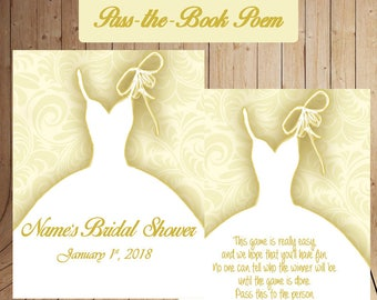 bridal shower game bridal pass the book pass the poem game cream gold theme