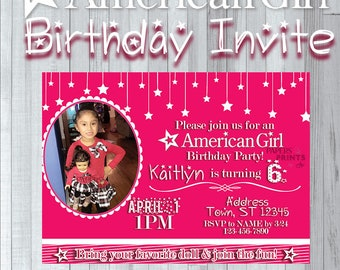 American girl invite etsy american girl party invitation bring your american girl doll customize with picture printable digital file invite stars photo filmwisefo
