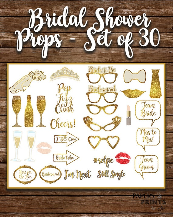 Props for Silver Bridal Shower Bridal Shower Props Party Props Instant Download File Photo Add Ons Set of 16 Gray Photo Sticks