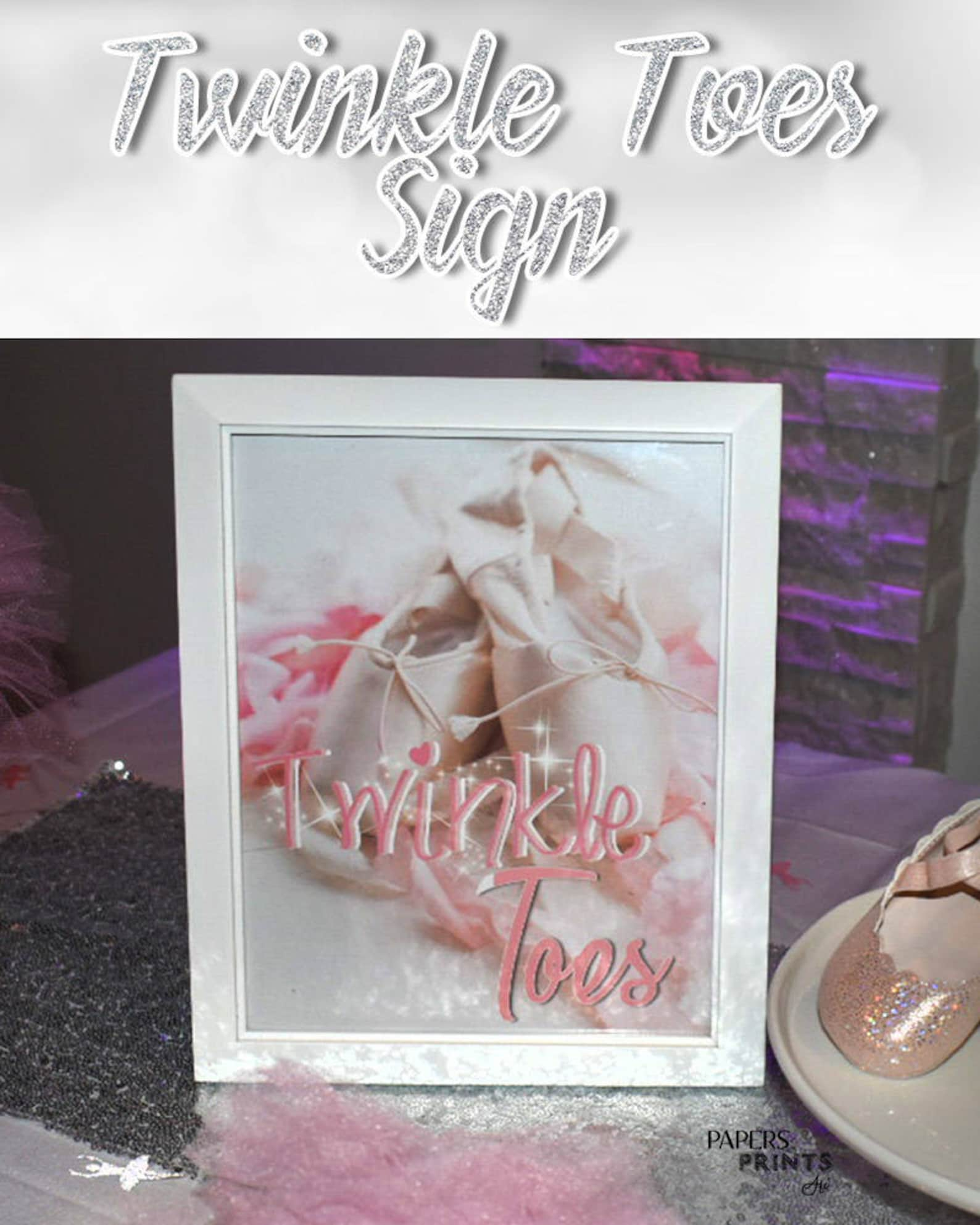 twinkle toes ballerina sign - tutu cute baby shower - pink white - ballerina - ballet shoes - ballet slippers - digital & printa
