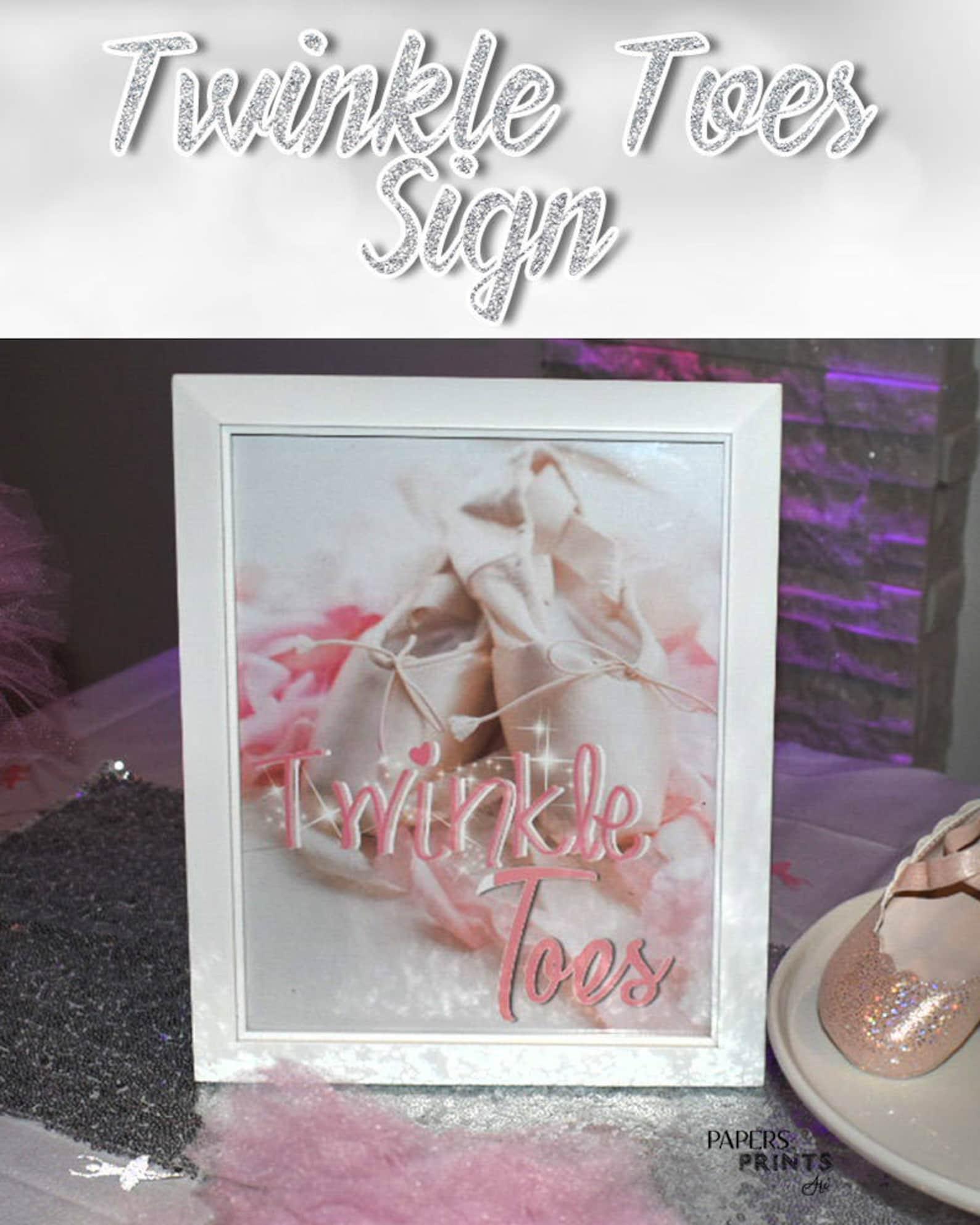 twinkle toes ballerina sign - tutu cute baby shower - pink white - ballerina - ballet shoes - ballet slippers - digital & printa