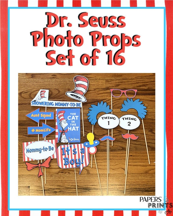 Dr Seuss Cat In The Hat Baby Shower Photo Booth Props Set