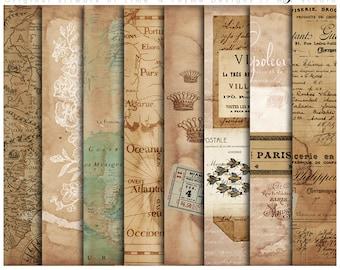 French Vintage Backgrounds / Vintage Ephemera / Paper pack / collage sheets / altered art / digital scrapbook paper / AC