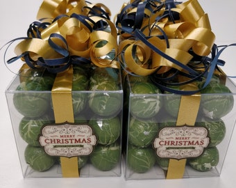 Christmas sweets, brussel sprouts, chocolate sprouts Christmas decor Christmas Gift Idea, Sweet Cube,  Gifts for him, Christmas Favours