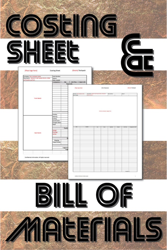 excel templates cost sheet and bill of materials for product etsy