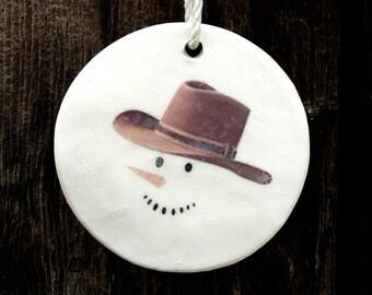 Round Christmas Ornaments Handmade, Cowboy, Western Christmas Gifts, Snowman Ornaments, Cowboy Christmas Ornaments, Gifts for Men, Cowboy