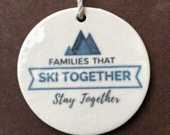 Round, Ski Ornament, Family Christmas Ornaments, Unique Ornaments, Snow Skier Ornaments