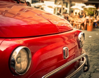 Italy Photography, Fiat 500, Italian Style Decor, Vintage Car Print, Rome, Rustic Home Decor, Vintage Print, Landscape, Restaurant Decor