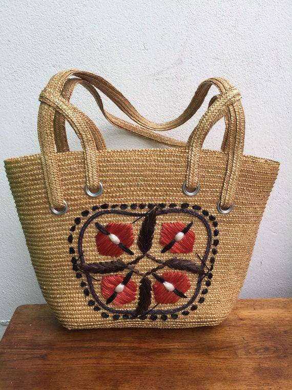 60s VINTAGE RAFFIA HANDBAG   Natural raffia Bag  