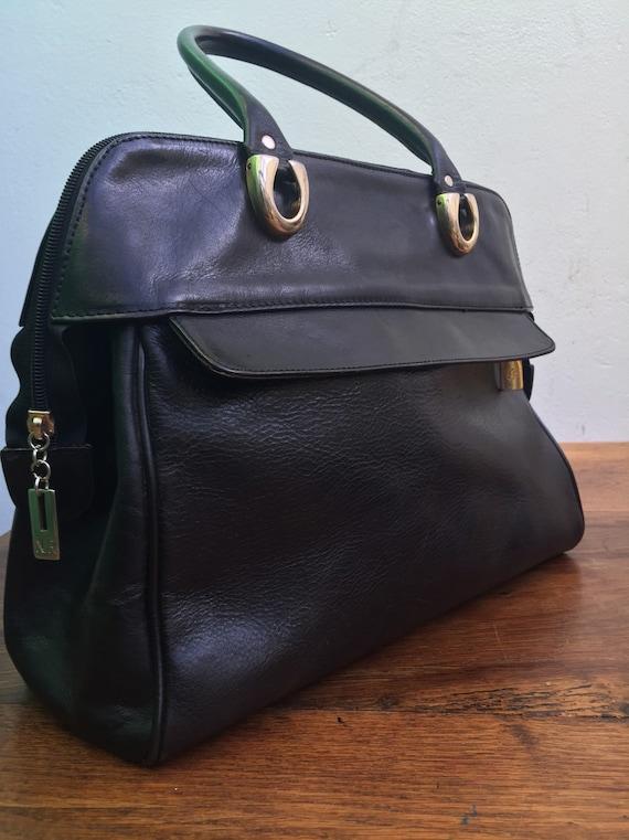 BLACK LEATHER HANDBAG | Vintage leather handbag |